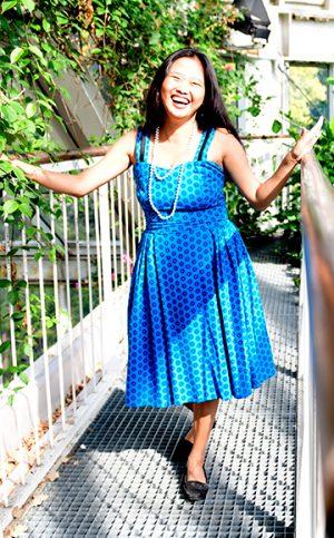16-okavee-blue-black-flared-summer-dress-shoulder-straps