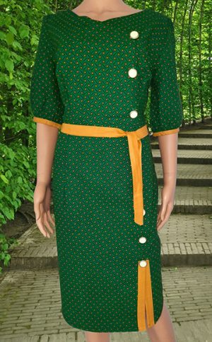 24-okavee-seshweshwe-green-dress-side-buttons-yellow-belt