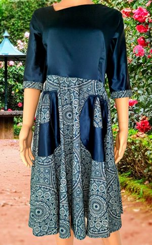 26-okavee-seshweshwe-indigo-dye-flared-dress-front-pockets-satin-upper-top