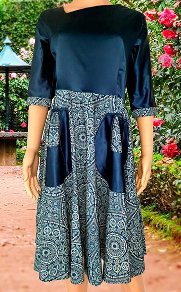 26-okavee-seshweshwe-indigo-dye-flared-dress-front-pockets-satin-upper-top